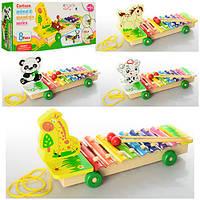 Деревянная игрушка каталка - Ксилофон с животными
