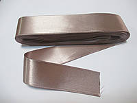 Стрічка атласна  двостороння 3 см ( 10 метрів)  рожево-бежева пастельнана Н-03-026