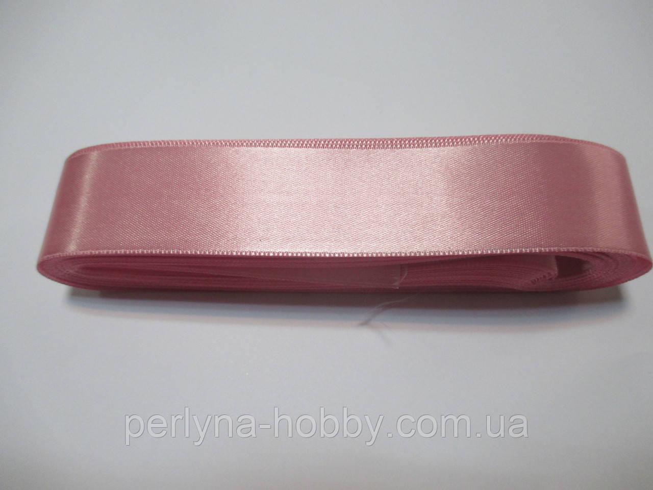 Стрічка атласна  двостороння 3 см ( 10 метрів)  рожева світла
