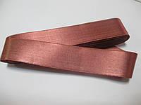 Стрічка атласна  двостороння 3 см ( 10 метрів)  рожево-теракотова