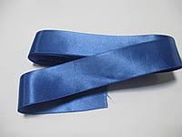Стрічка атласна  двостороння 3 см ( 10 метрів) синя волошкова Н 094