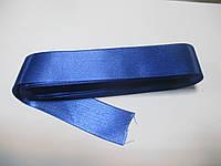 Стрічка атласна  двостороння 3 см ( 10 метрів) синя Н 095(096)