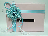 Коробка для денег розовая с цветком