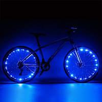 Диодная иллюминация колеса / спиц велосипеда на 20 диодов 20, Универсальная клипса, Пластик, Водонепроницаемый, Максимальный, Мигалка, Диодная, СИНИЙ
