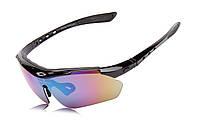 Спортивные очки Oakley 089 POLARIZED с поляризацией и UV400 (5 сменных линз) ЧЁРНЫЙ
