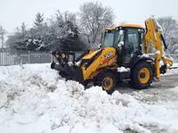 Уборка снега. Уборка территории Экскаватором JCB 3cx