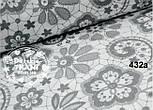 """Лоскут ткани №432а  """"Бабушкины кружева"""" серые на белом , фото 2"""