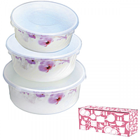 Набор лотков для продуктов (стеклокерамика, 3 шт.) Розовая орхидея SNT 30053*