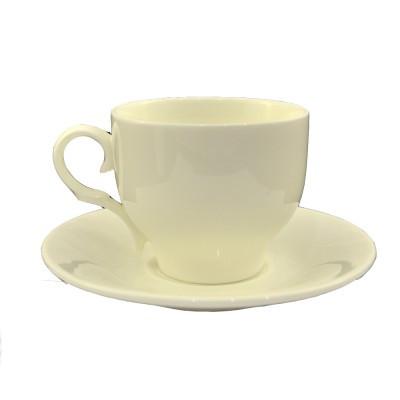 Чашка с блюдцем чайная,  белого цвета,  180 мл.