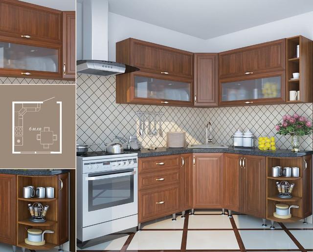 Кухня София Классик (цвет орех, схема)
