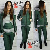 Костюм зимний тройка - куртка, брюки и кофта стеганная плащевка-лаке и трикотаж разные цвета Df25