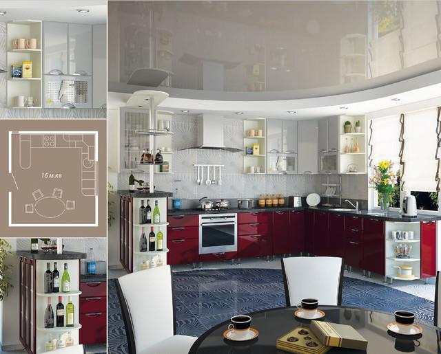 Кухня София Люкс (цвет бордо, серый, схема)