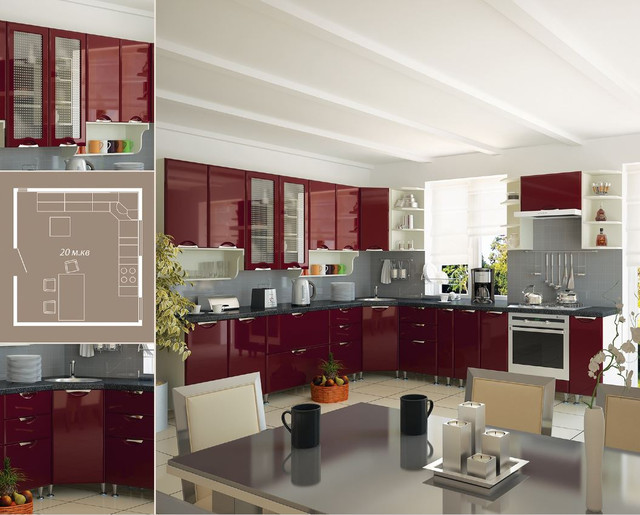 Кухня София Люкс (цвет бордо, схема)