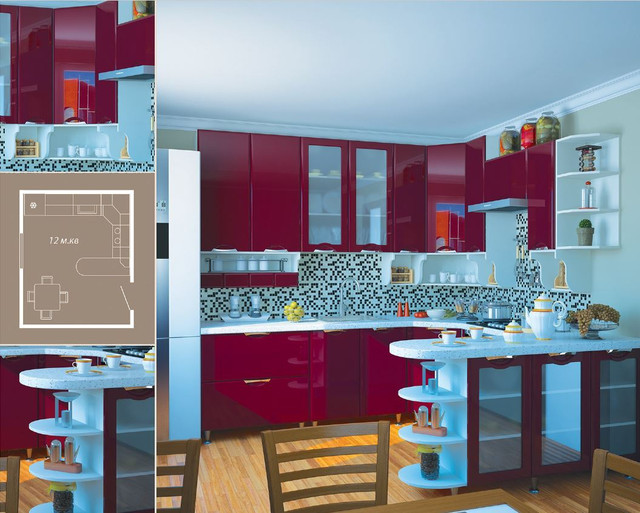 Кухня София Люкс (цвет бордо, фото 3)