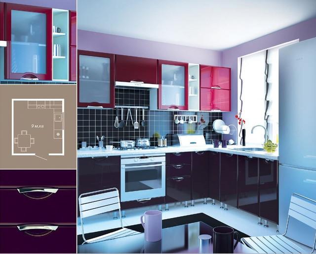Кухня София Люкс (цвет бордо,фиолет, схема)