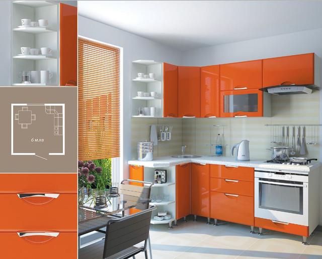 Кухня София Люкс (цвет оранж, схема)