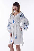 """Сукня """"Ластівки"""" біла з блакитною вишивкою, фото 1"""