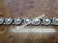 Женский браслет арт.058 из серебра925 и пластин золота375 с жемчугом