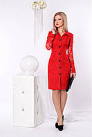 Гипюровое платье приталенного силуэта с воротничком красное