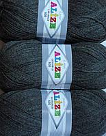 Пряжа нитки для вязания Lanagold Ланаголд 800 полушерсть т.серый