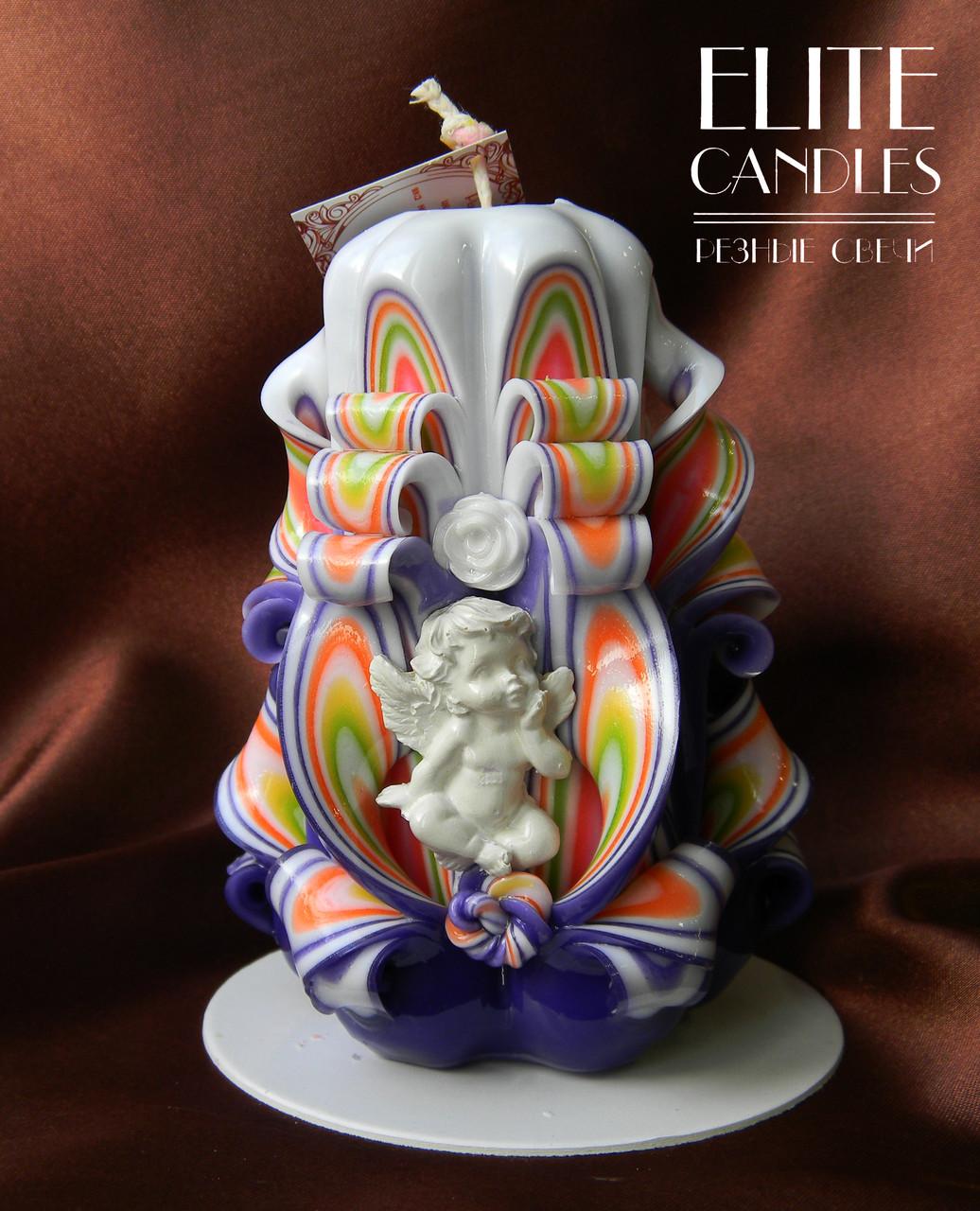 Свеча резная с ангелочком, ручной работы, на подарок ко дню святого Валентина