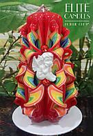 Свеча ручной работы с ангелочком, радужных тонов, 14 см высотой