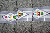 Пряжа нитки для вязания Lanagold Ланаголд 800 полушерсть св. серый