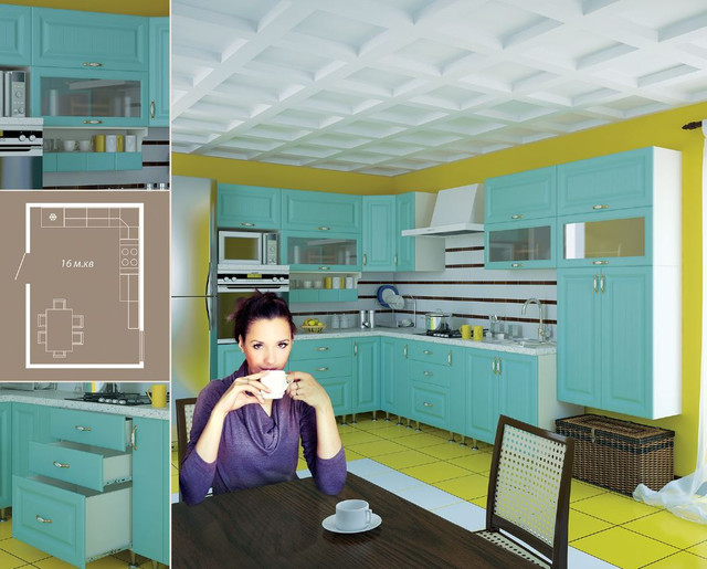 Кухня София Романтика (цвет морская волна, схема 2)