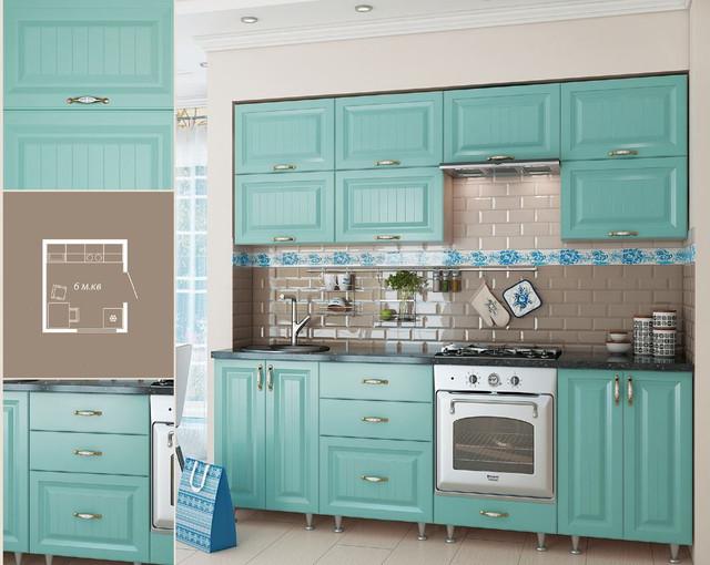 Кухня София Романтика (цвет морская волна, схема)