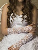 Свадебные перчатки до локтя (15-322) белые