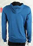 Мужская толстовка из двунитки на манжете с капюшоном синий электрик, фото 3