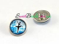 Кнопка Noosa стекло, балерина на голубом