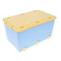 Ящик для хранения игрушек Тega синий с желтой крышкой