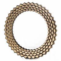 """Настенное круглое золотистое зеркало """"Солнце-зигзаг"""", 57 см."""