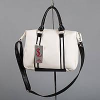 Черно-белая сумка через плечо мягкая с ручками
