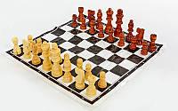 Шахматные фигуры деревянные с полотном для игр (3105) (дерево, h короля9см)