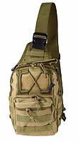 Сумка тактична через плече (однолямочный рюкзак) City Hunter RVL B14-пісок