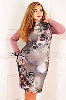 Женское эффектное дизайнерское платье батальных размеров (рр 52-56)
