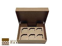 Коробка для капкейков, кексов и маффинов 6 шт 247*170*80 (Крафт)