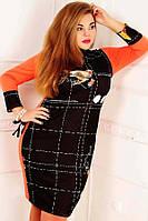 Женское стильное дизайнерское платье батальных размеров (рр 52-56)