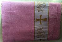 Крыжма розовая с золотыстой вышивкой для крещения девочки