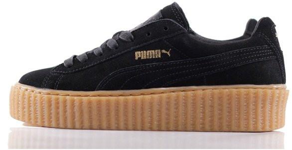 Кеды Puma Creeper Rihanna Black Brown Черные женские реплика