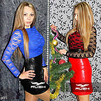 Платье из эко-кожи и гипюра