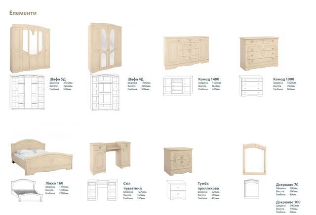 Модульная спальня Николь (составляющие элементы)