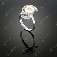 Серебряное кольцо с жемчугом и фианитами. Артикул П-208