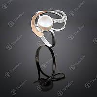 Серебряное кольцо с жемчугом и фианитами. Артикул П-209
