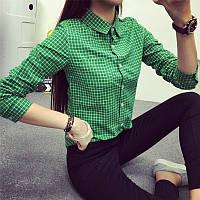 Молодежная, женская рубашка в клетку (х/б, лен) Фабричный Китай! РАЗНЫЕ ЦВЕТА