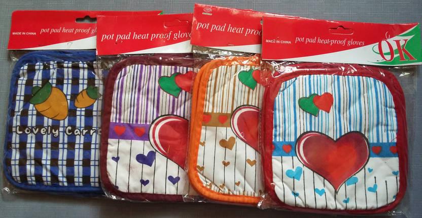 Набор из 2 прихваток для кухни c сердцем, бордо, фото 2