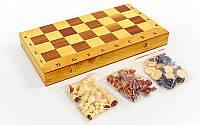 Шахматы, шашки, нарды 3 в 1 деревянные  (фигуры дерево, р-р доски 40см x 40см)