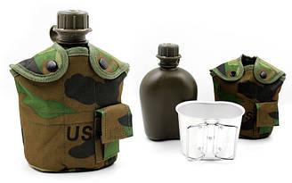 Фляга с котелком V1л в чехле  (пластик, чехол камуфляж Multicam)